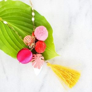 #927 New Tropical Tassel Gold Pink Long Necklace